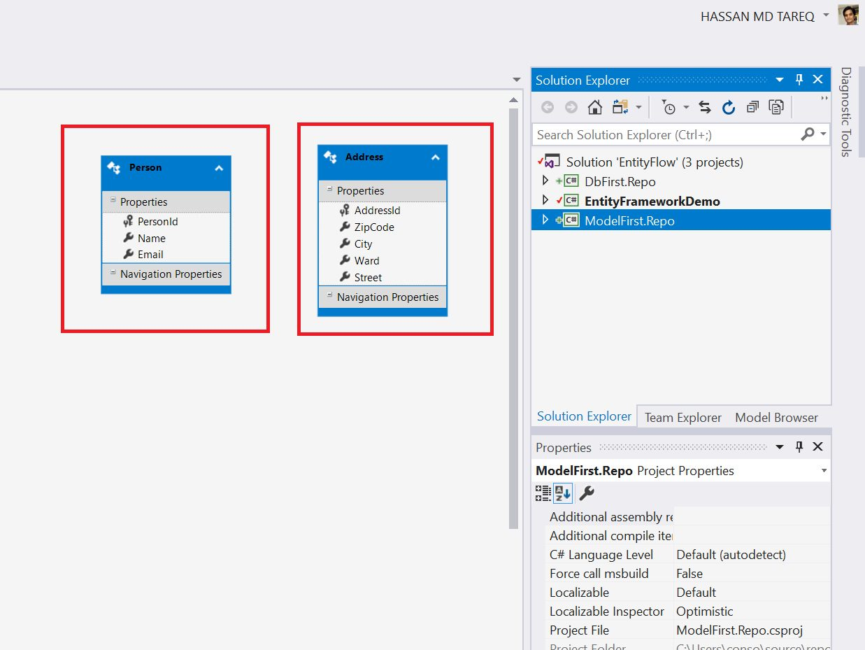 Entity Framework Model Fisrt Approach - Creating edmx Step 14